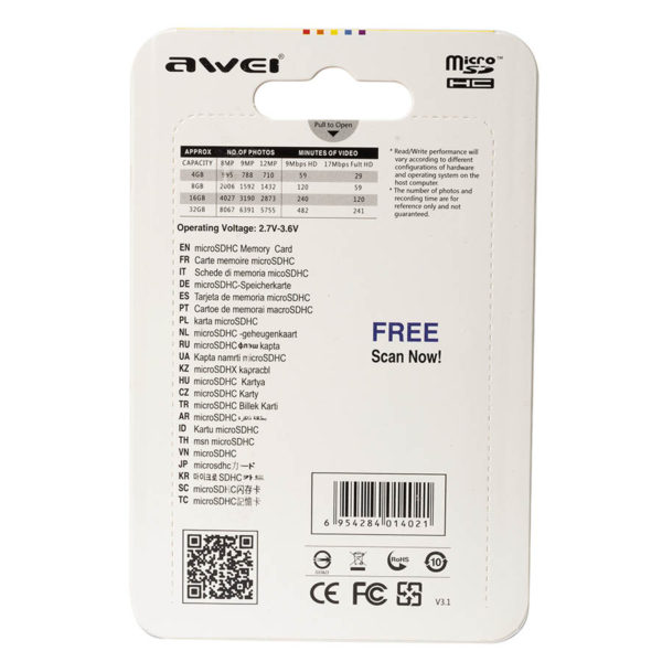 Карта памяти micro SDHC AWEI 16 GB