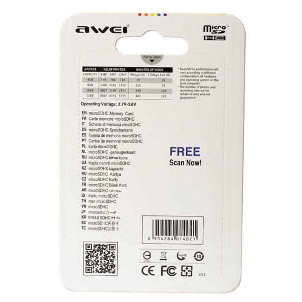 Карта памяти micro SDHC AWEI 4 GB