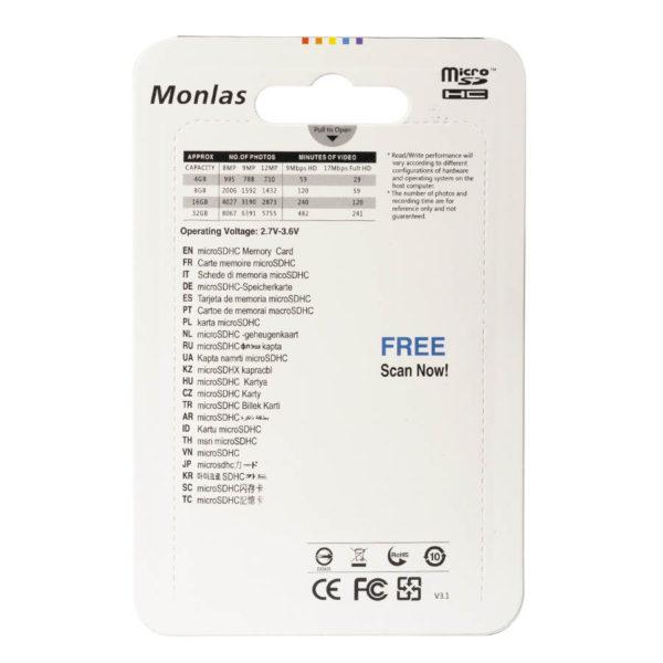 Карта памяти micro SDHC Monlas 4 GB